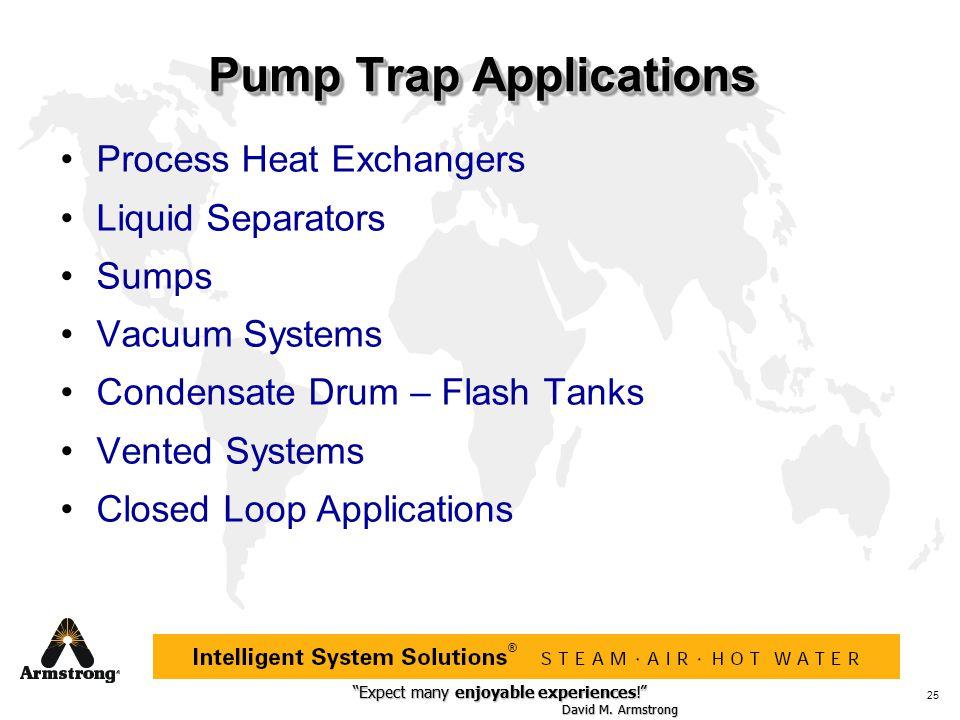 """Expect many enjoyable experiences!"" David M. Armstrong ""Expect many enjoyable experiences!"" David M. Armstrong ® 25 Pump Trap Applications Process He"