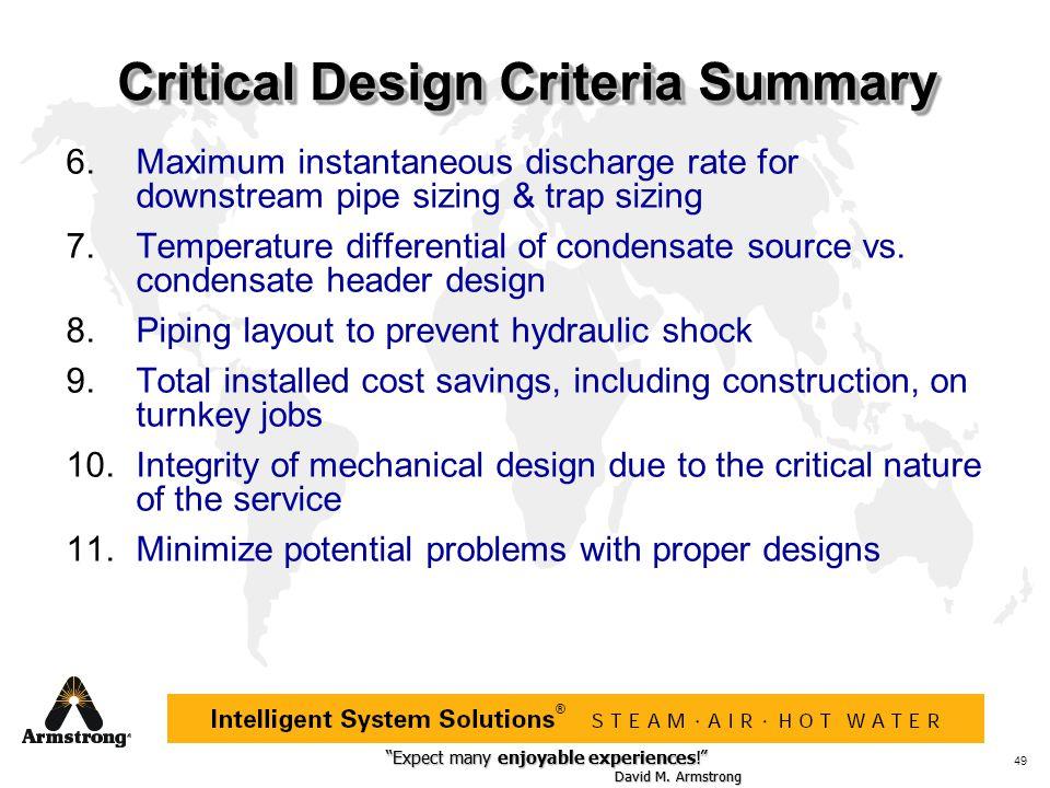 """Expect many enjoyable experiences!"" David M. Armstrong ""Expect many enjoyable experiences!"" David M. Armstrong ® 49 Critical Design Criteria Summary"