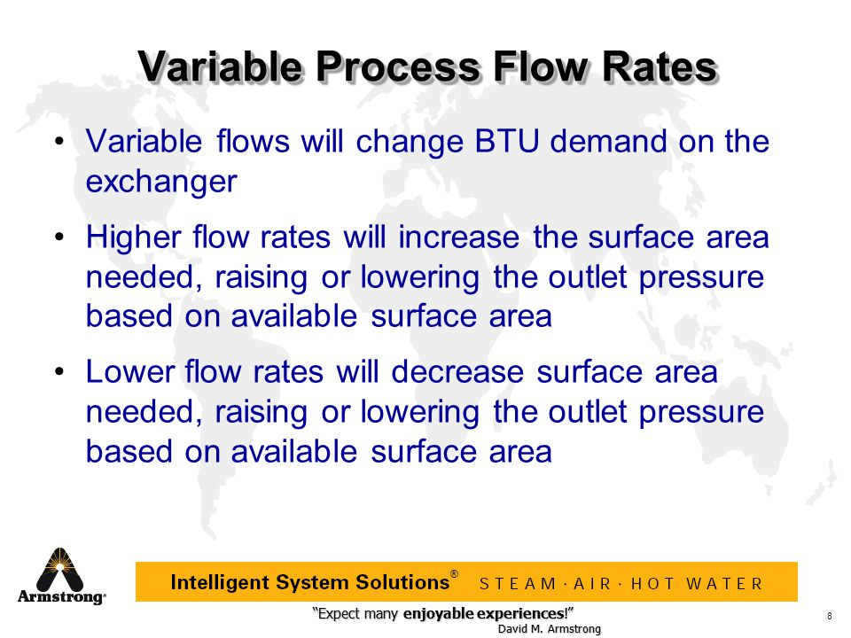 """Expect many enjoyable experiences!"" David M. Armstrong ""Expect many enjoyable experiences!"" David M. Armstrong ® 8 Variable Process Flow Rates Variab"
