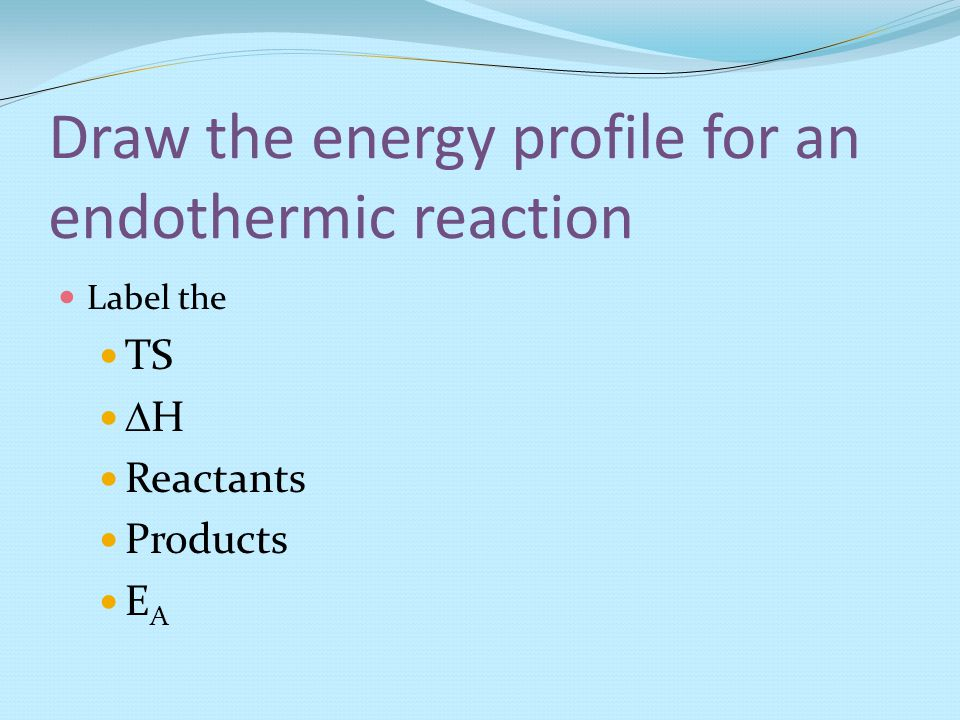 Draw the energy profile for an endothermic reaction Label the TS  H Reactants Products E A