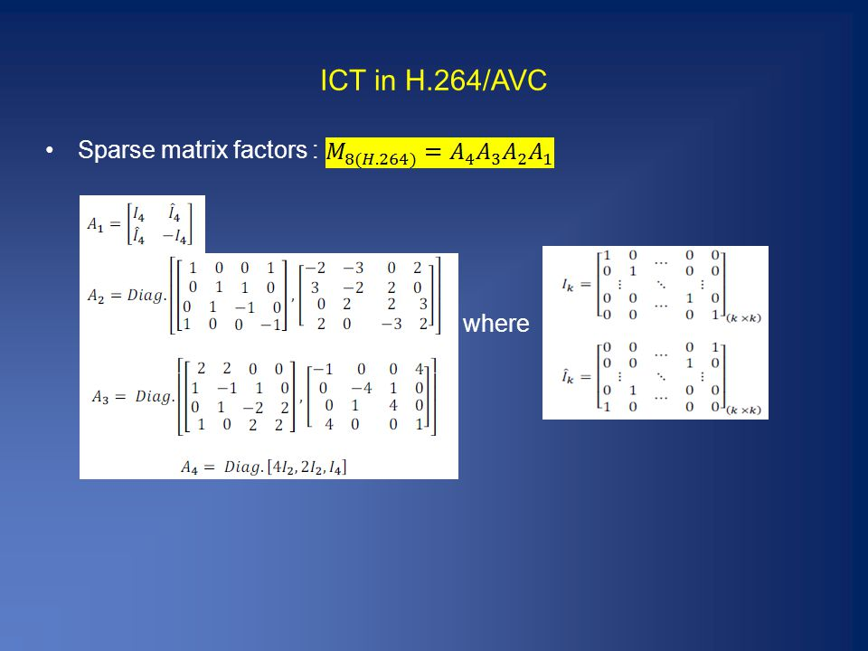 ICT in H.264/AVC Sparse matrix factors : where