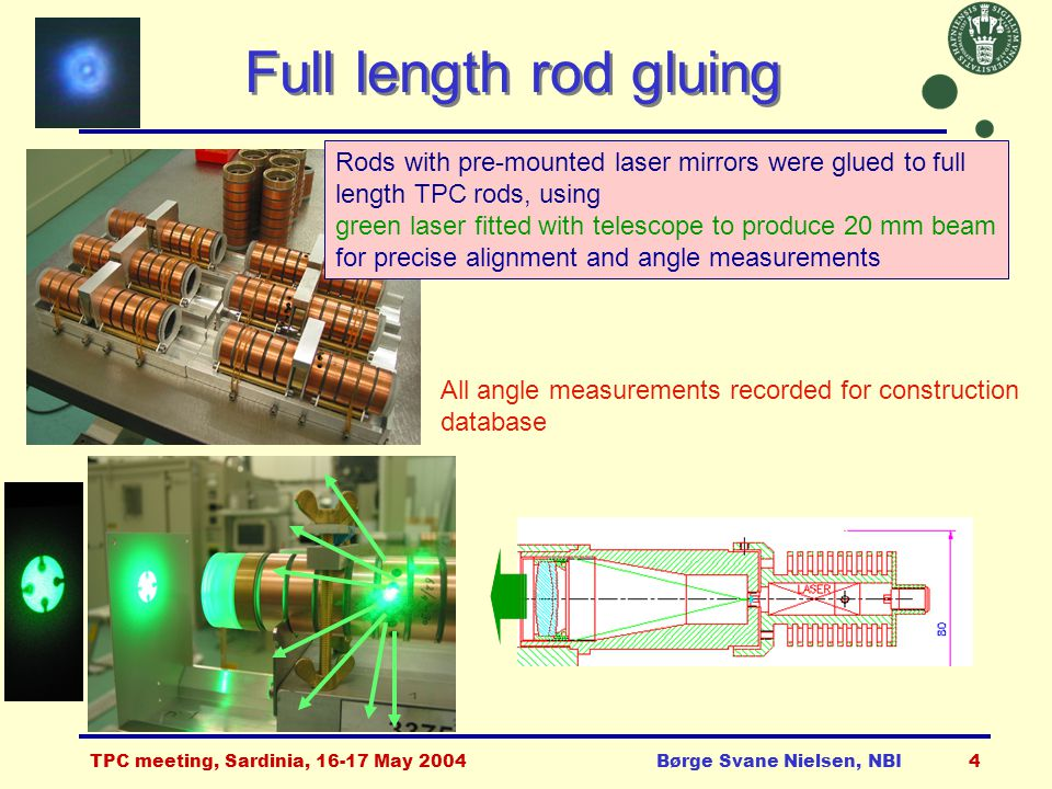 TPC meeting, Sardinia, 16-17 May 2004Børge Svane Nielsen, NBI4 Full length rod gluing All angle measurements recorded for construction database Rods with pre-mounted laser mirrors were glued to full length TPC rods, using green laser fitted with telescope to produce 20 mm beam for precise alignment and angle measurements