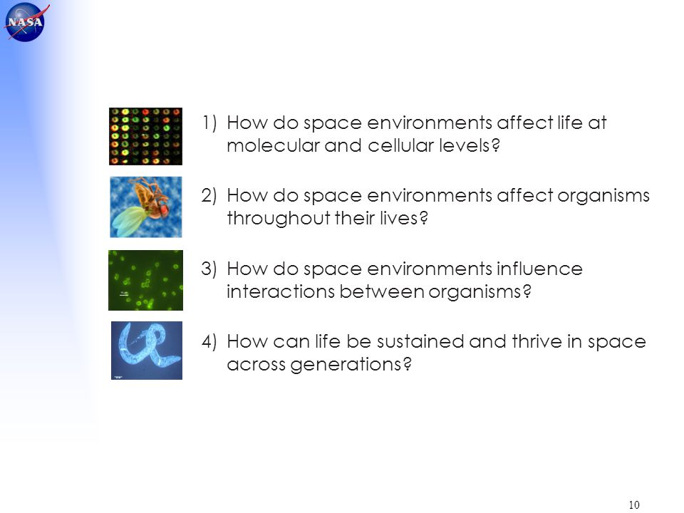 10 1)How do space environments affect life at molecular and cellular levels? 2)How do space environments affect organisms throughout their lives? 3)Ho