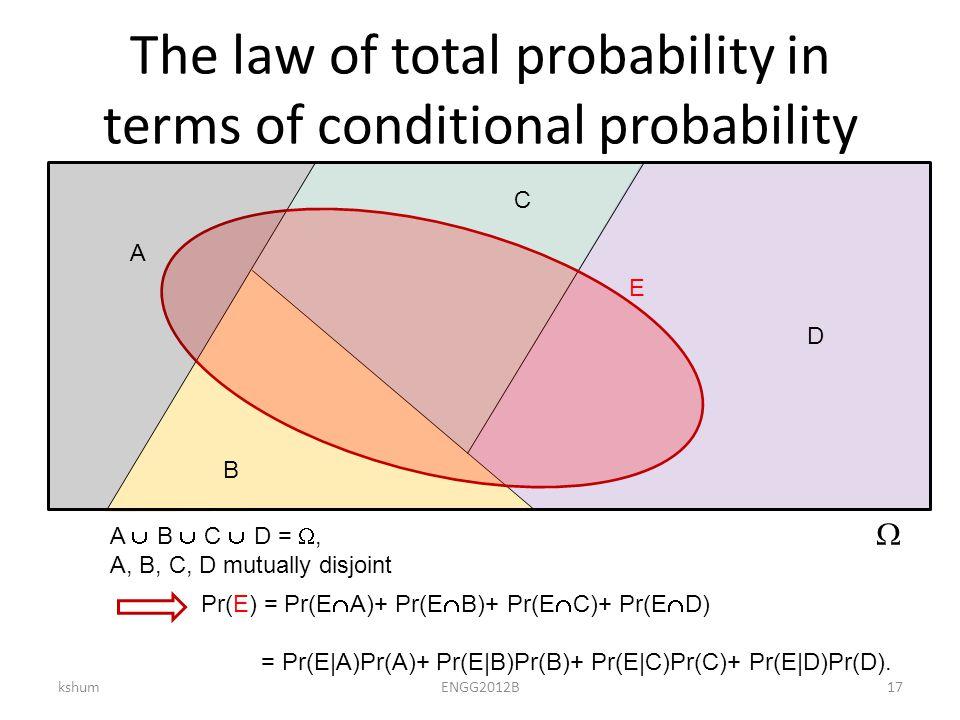 The law of total probability in terms of conditional probability kshumENGG2012B17  A B C D Pr(E) = Pr(E  A)+ Pr(E  B)+ Pr(E  C)+ Pr(E  D) = Pr(E|A)Pr(A)+ Pr(E|B)Pr(B)+ Pr(E|C)Pr(C)+ Pr(E|D)Pr(D).