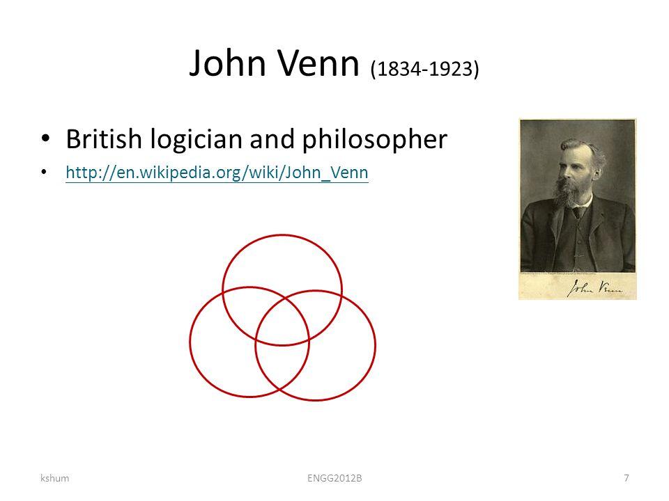 John Venn (1834-1923) British logician and philosopher http://en.wikipedia.org/wiki/John_Venn kshumENGG2012B7