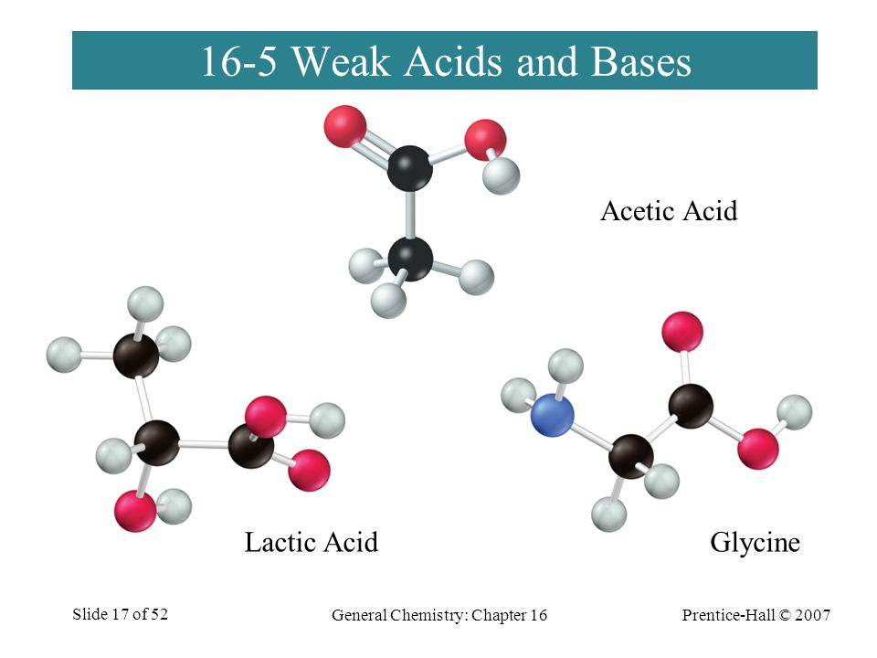 Prentice-Hall © 2007 General Chemistry: Chapter 16 Slide 17 of 52 16-5 Weak Acids and Bases Lactic AcidGlycine General Chemistry: Chapter 16Prentice-H