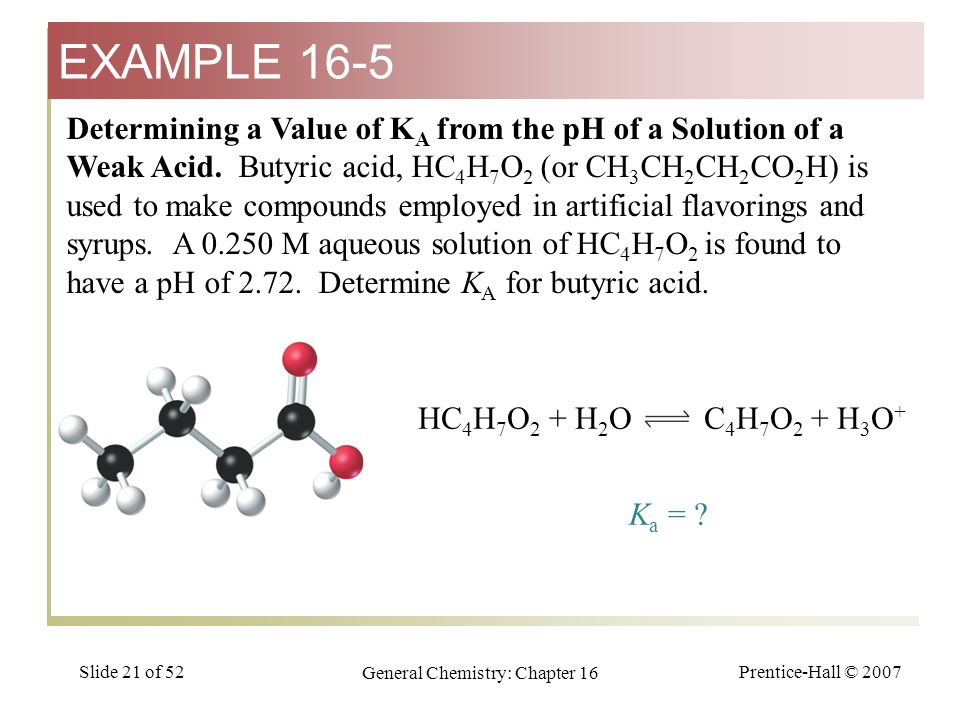 Prentice-Hall © 2007 General Chemistry: Chapter 16 Slide 21 of 52 Determining a Value of K A from the pH of a Solution of a Weak Acid.