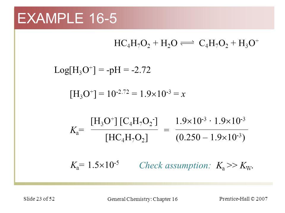 Prentice-Hall © 2007 General Chemistry: Chapter 16 Slide 23 of 52 Log[H 3 O + ] = -pH = -2.72 HC 4 H 7 O 2 + H 2 O C 4 H 7 O 2 + H 3 O + [H 3 O + ] =