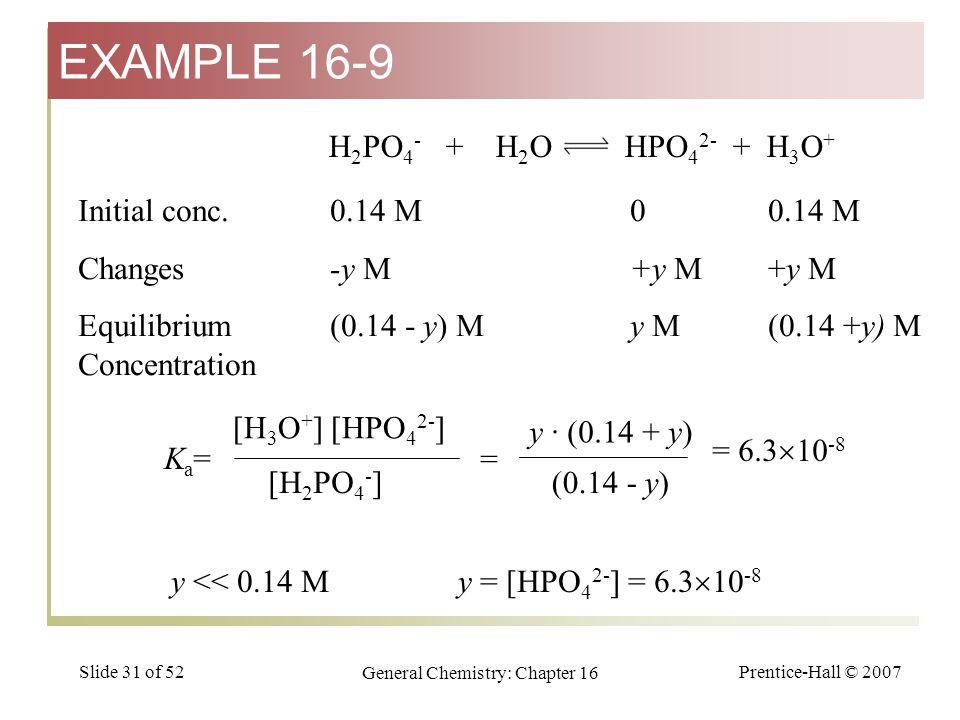 Prentice-Hall © 2007 General Chemistry: Chapter 16 Slide 31 of 52 H 2 PO 4 - + H 2 O HPO 4 2- + H 3 O + [H 3 O + ] [HPO 4 2- ] [H 2 PO 4 - ] Ka=Ka= y