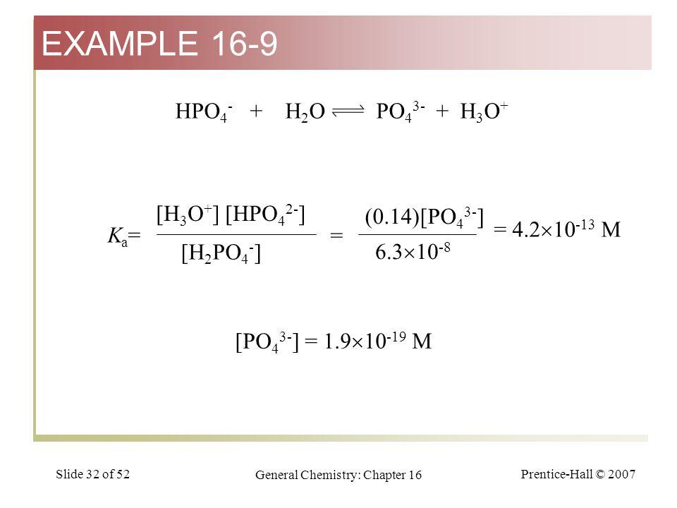 Prentice-Hall © 2007 General Chemistry: Chapter 16 Slide 32 of 52 HPO 4 - + H 2 O PO 4 3- + H 3 O + [H 3 O + ] [HPO 4 2- ] [H 2 PO 4 - ] Ka=Ka= (0.14)