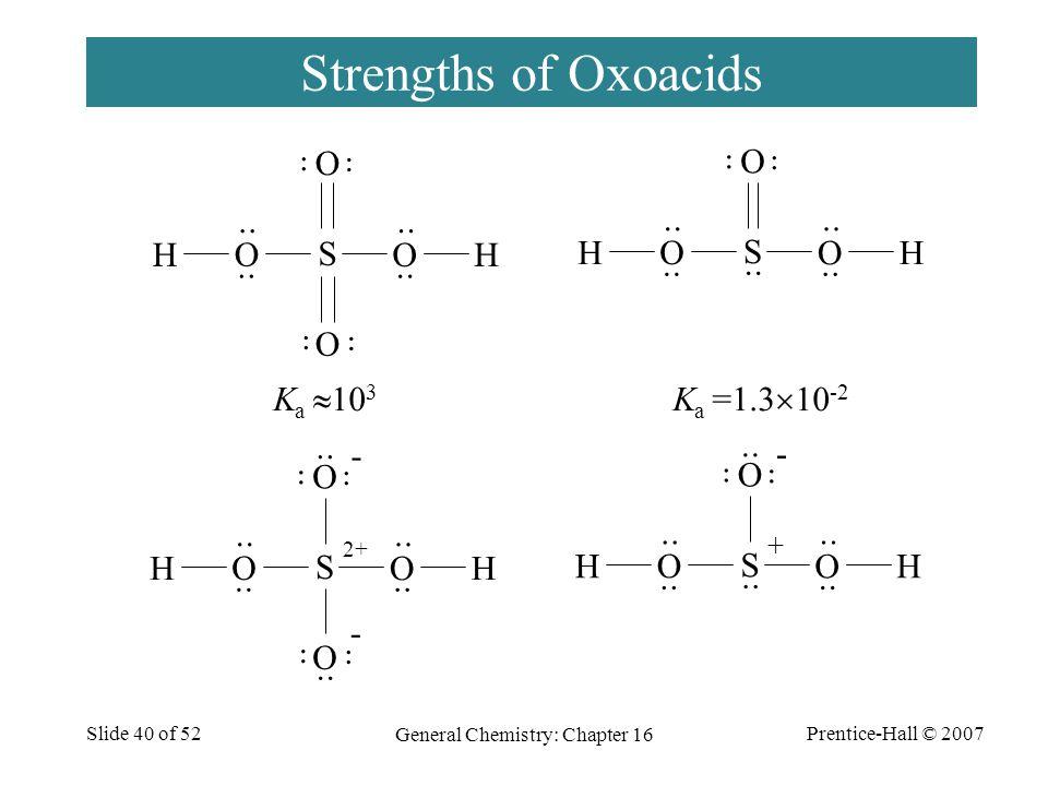 Prentice-Hall © 2007 General Chemistry: Chapter 16 Slide 40 of 52 Strengths of Oxoacids S O O O O HH ·· - 2+ ·· - S O O O HH - + S O O O O HH S O O O