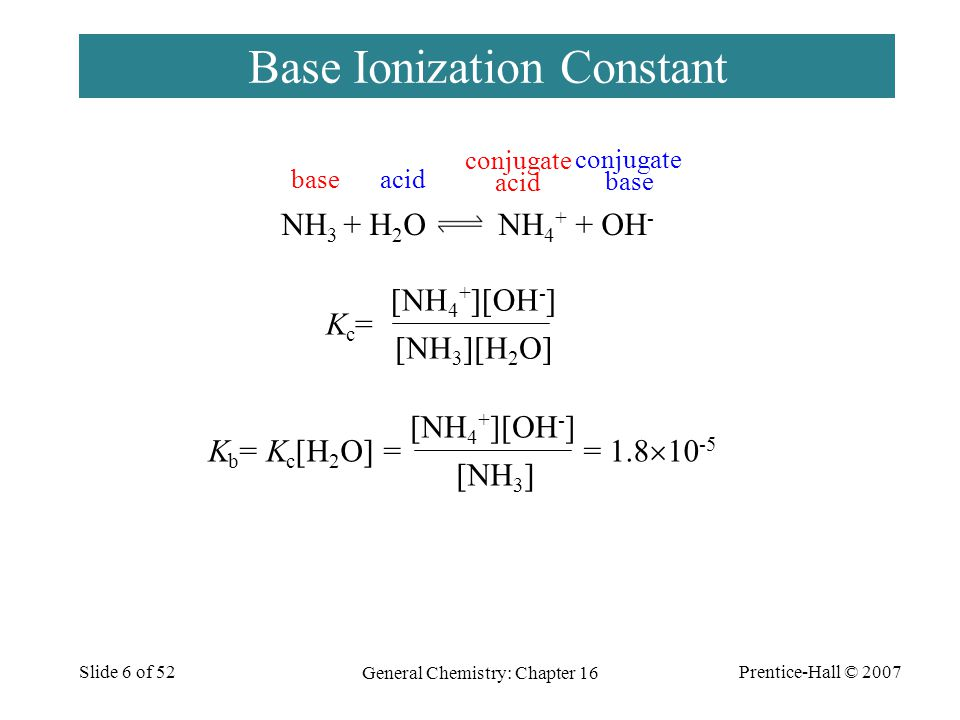 Prentice-Hall © 2007 General Chemistry: Chapter 16 Slide 7 of 52 Acid Ionization Constant CH 3 CO 2 H + H 2 O CH 3 CO 2 - + H 3 O + Kc=Kc= [CH 3 CO 2 H][H 2 O] [CH 3 CO 2 - ][H 3 O + ] K a = K c [H 2 O] = = 1.8  10 -5 [CH 3 CO 2 H] [CH 3 CO 2 - ][H 3 O + ] baseacid conjugate acid conjugate base