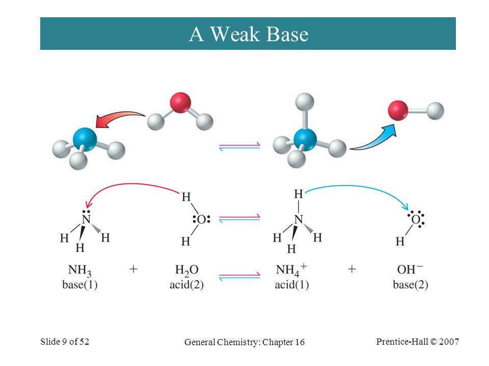 Prentice-Hall © 2007 General Chemistry: Chapter 16 Slide 9 of 52 A Weak Base