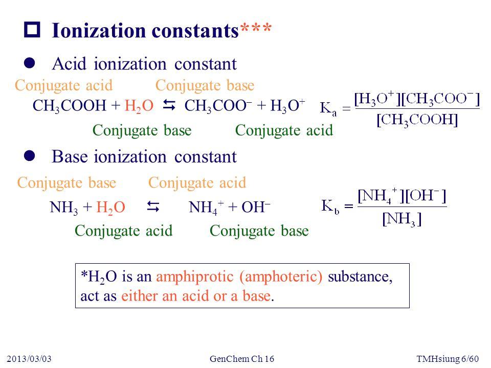 GenChem Ch 162013/03/03TMHsiung 57/60  Hydrated metal ion Al 3+ + 6H 2 O  Al(H 2 O) 6 3+