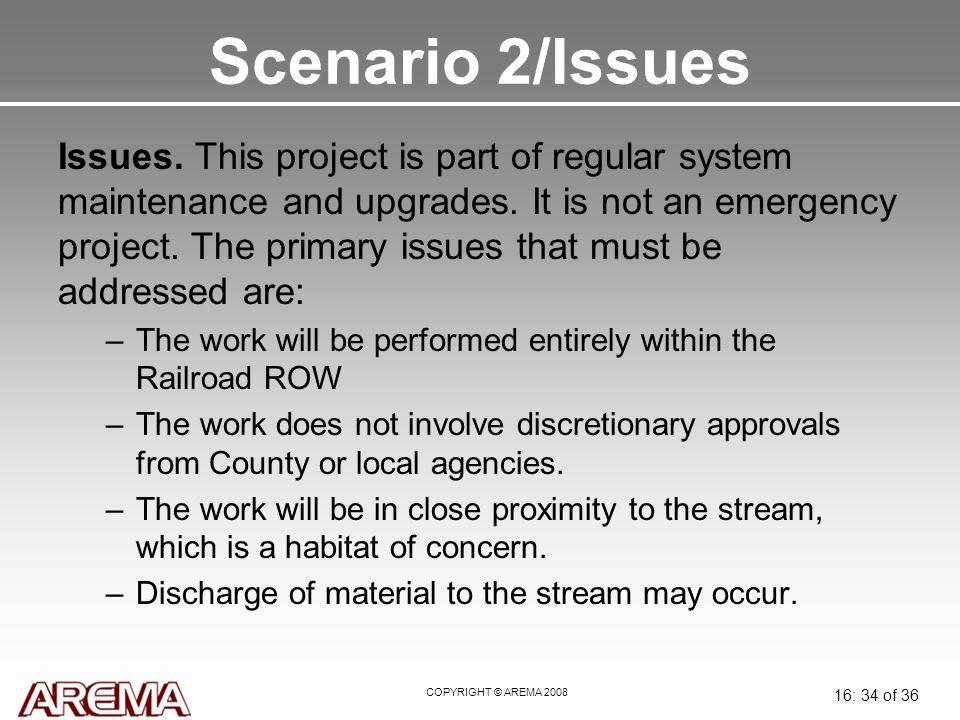 COPYRIGHT © AREMA 2008 16: 34 of 36 Scenario 2/Issues Issues.