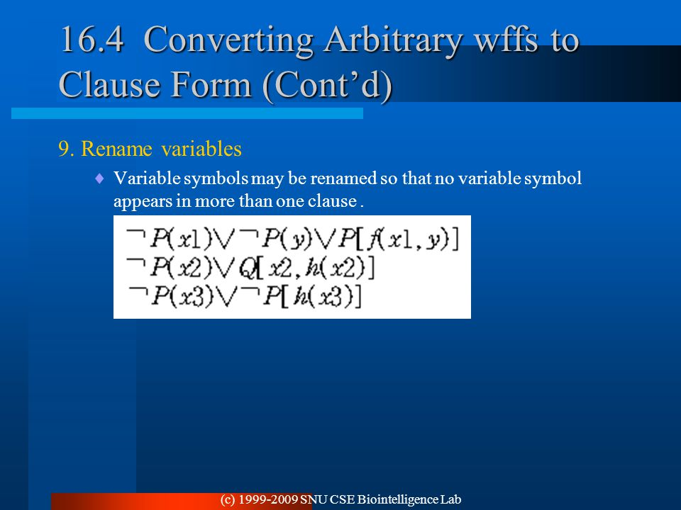 (c) 1999-2009 SNU CSE Biointelligence Lab 16.4 Converting Arbitrary wffs to Clause Form (Cont'd) 9. Rename variables  Variable symbols may be renamed