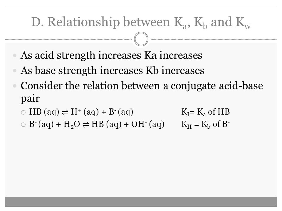 D. Relationship between K a, K b and K w As acid strength increases Ka increases As base strength increases Kb increases Consider the relation between
