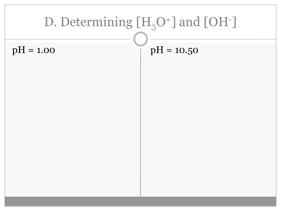 D. Determining [H 3 O + ] and [OH - ] pH = 1.00pH = 10.50