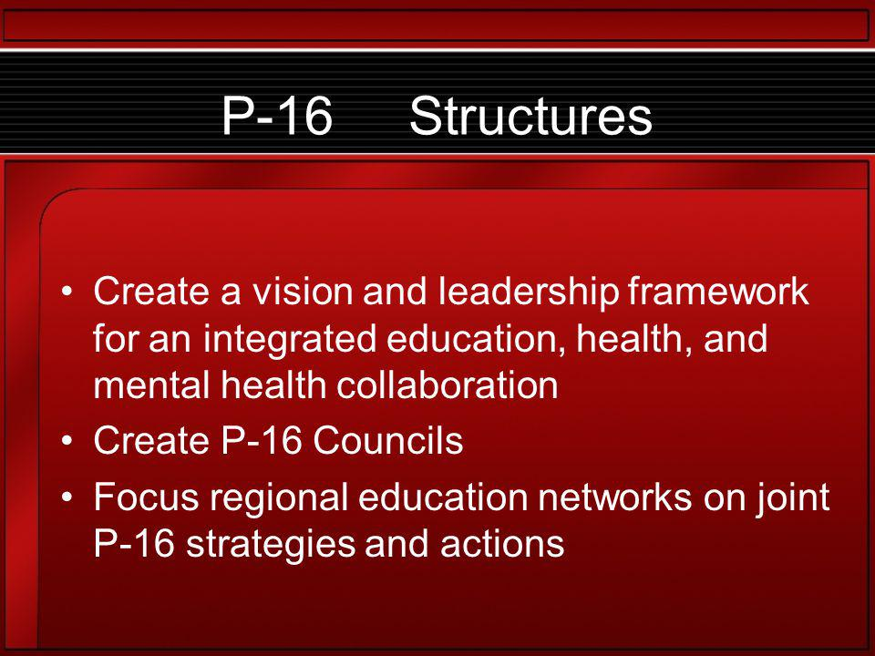 P-16 Structures Create a vision and leadership framework for an integrated education, health, and mental health collaboration Create P-16 Councils Focus regional education networks on joint P-16 strategies and actions