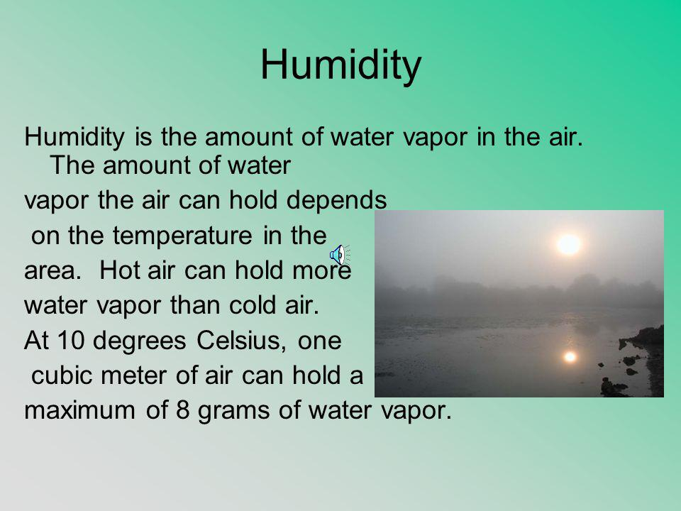 Humidity Humidity is the amount of water vapor in the air. The amount of water vapor the air can hold depends on the temperature in the area. Hot air