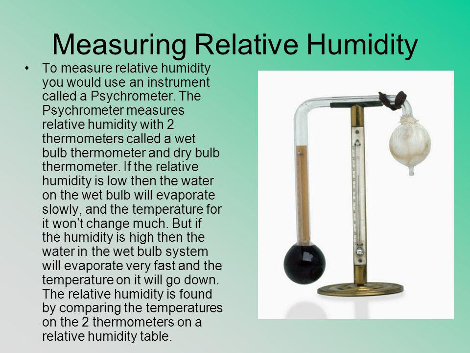Measuring Relative Humidity To measure relative humidity you would use an instrument called a Psychrometer. The Psychrometer measures relative humidit