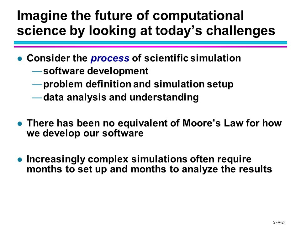 SFA-24 Imagine the future of computational science by looking at today's challenges l Consider the process of scientific simulation —software development —problem definition and simulation setup —data analysis and understanding l There has been no equivalent of Moore's Law for how we develop our software l Increasingly complex simulations often require months to set up and months to analyze the results