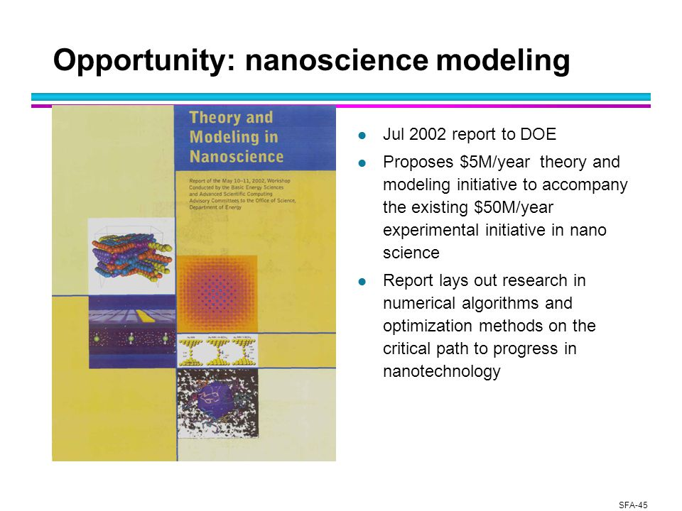 SFA-45 Opportunity: nanoscience modeling l Jul 2002 report to DOE l Proposes $5M/year theory and modeling initiative to accompany the existing $50M/year experimental initiative in nano science l Report lays out research in numerical algorithms and optimization methods on the critical path to progress in nanotechnology