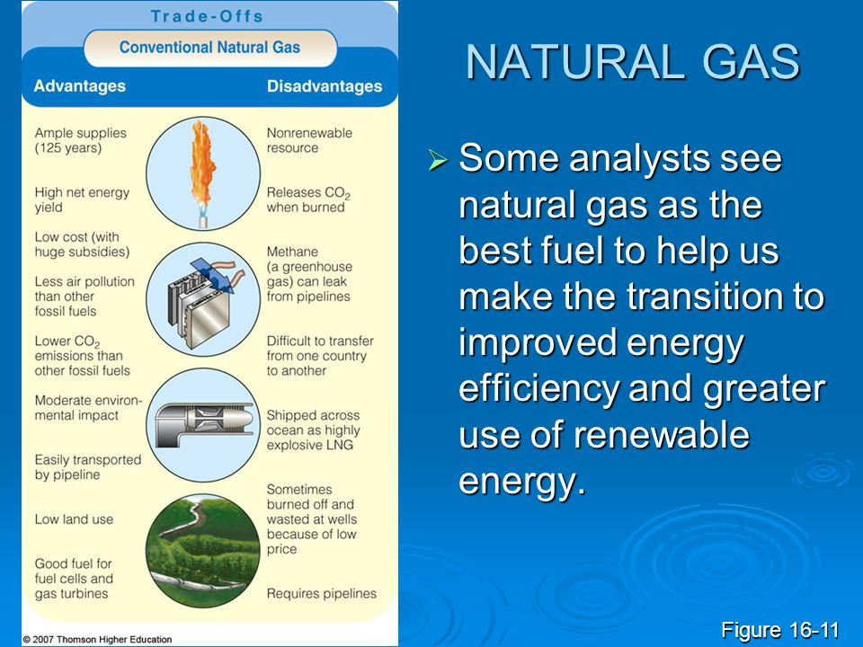 NATURAL GAS  Some analysts see natural gas as the best fuel to help us make the transition to improved energy efficiency and greater use of renewable