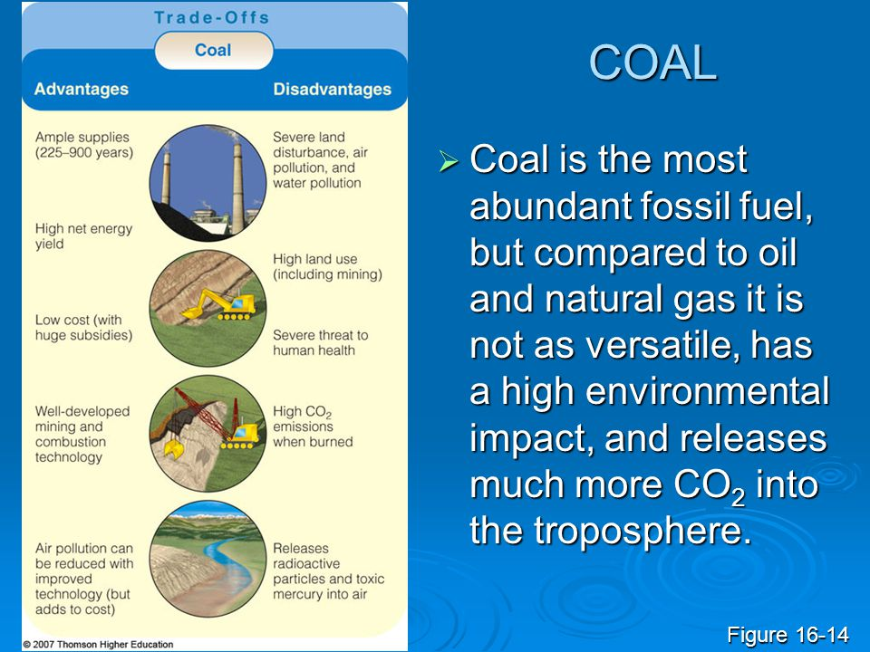 COAL  Coal is the most abundant fossil fuel, but compared to oil and natural gas it is not as versatile, has a high environmental impact, and release