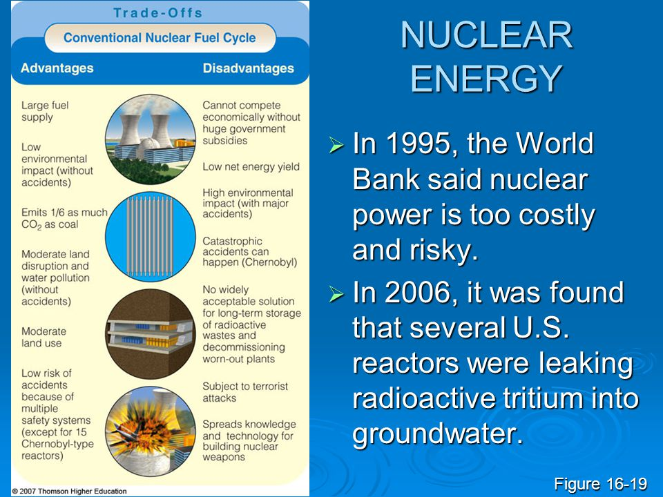 NUCLEAR ENERGY  In 1995, the World Bank said nuclear power is too costly and risky.  In 2006, it was found that several U.S. reactors were leaking r