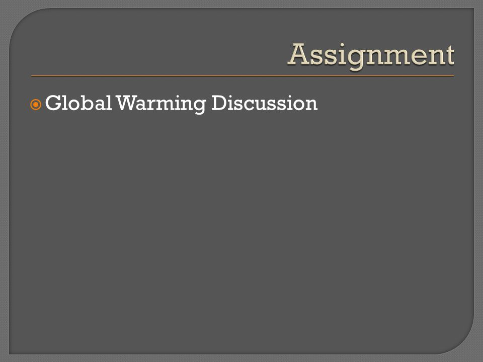  Global Warming Discussion