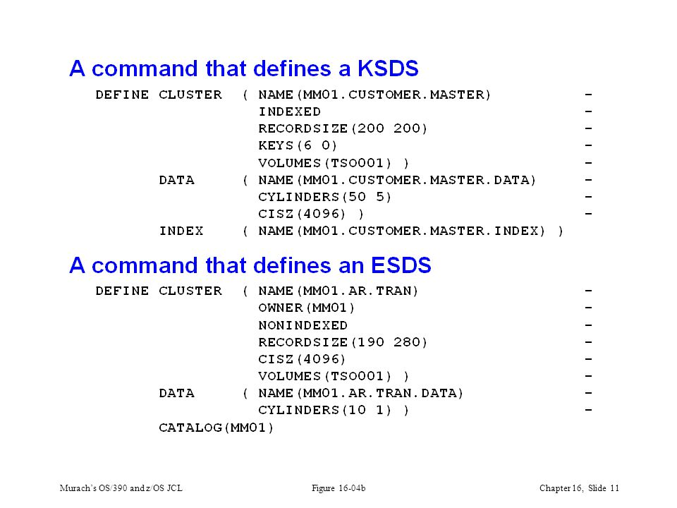 Murach's OS/390 and z/OS JCLChapter 16, Slide 11 Figure 16-04b