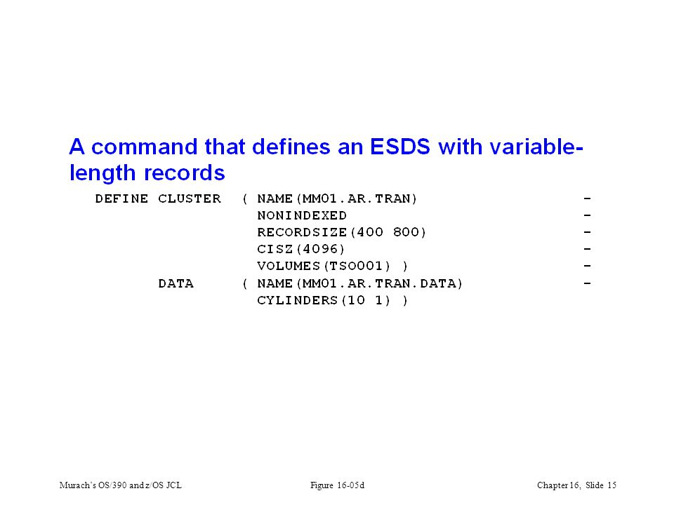 Murach's OS/390 and z/OS JCLChapter 16, Slide 15 Figure 16-05d
