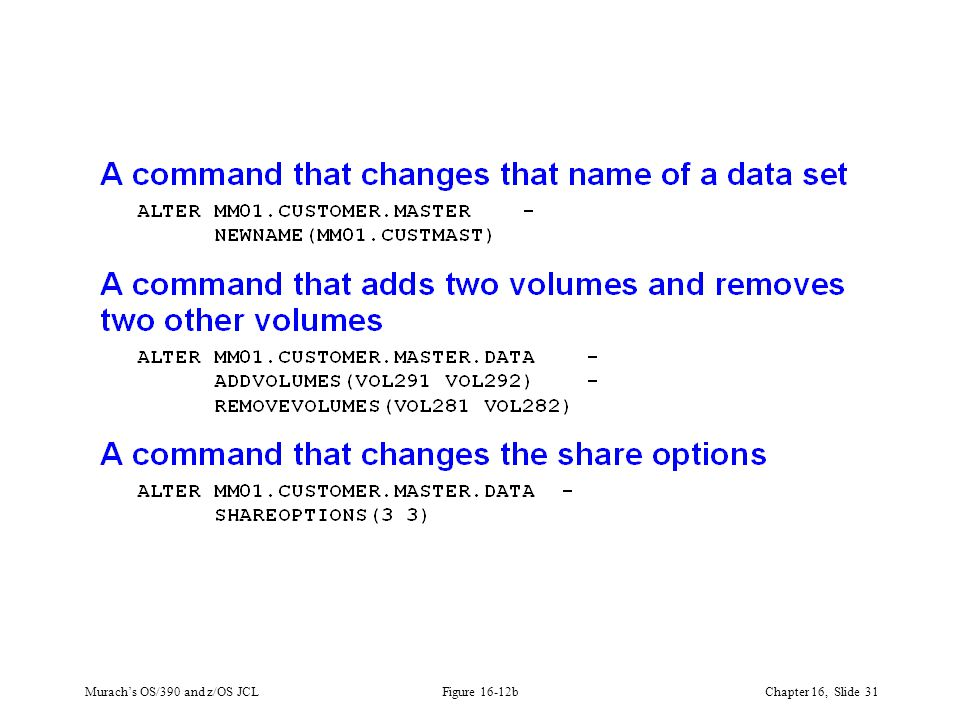 Murach's OS/390 and z/OS JCLChapter 16, Slide 31 Figure 16-12b