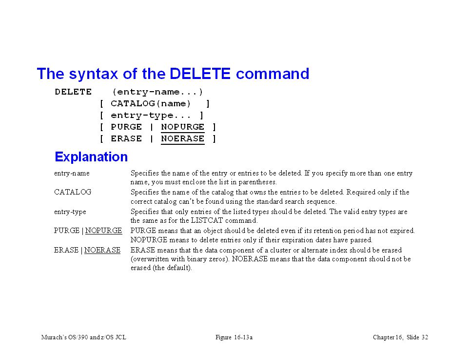 Murach's OS/390 and z/OS JCLChapter 16, Slide 32 Figure 16-13a