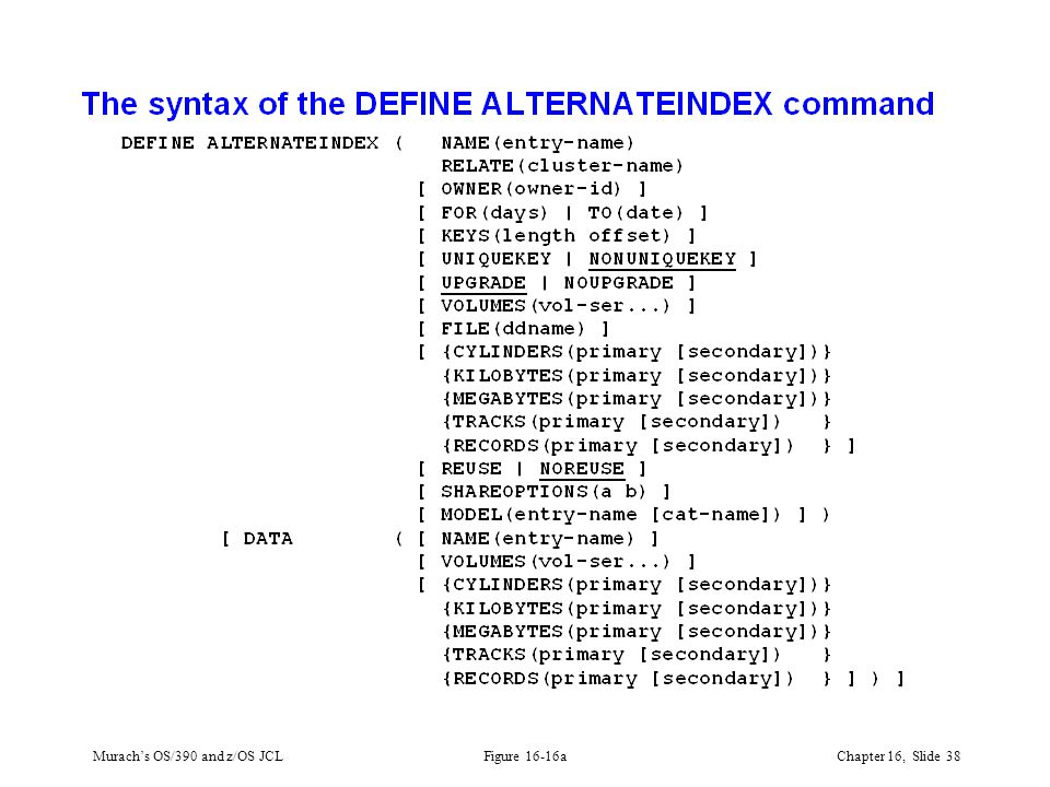 Murach's OS/390 and z/OS JCLChapter 16, Slide 38 Figure 16-16a