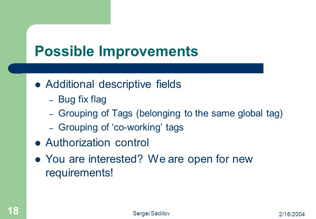 2/16/2004 Sergei Sadilov 18 Possible Improvements Additional descriptive fields – Bug fix flag – Grouping of Tags (belonging to the same global tag) –