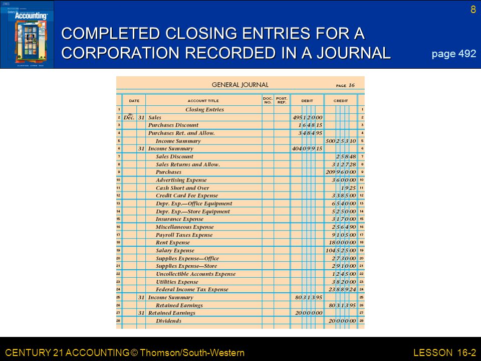 CENTURY 21 ACCOUNTING © Thomson/South-Western 8 LESSON 16-2 COMPLETED CLOSING ENTRIES FOR A CORPORATION RECORDED IN A JOURNAL page 492