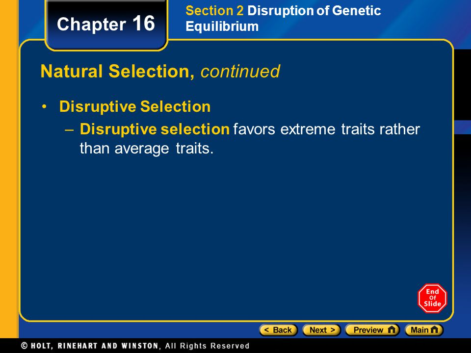 Chapter 16 Natural Selection, continued Disruptive Selection –Disruptive selection favors extreme traits rather than average traits. Section 2 Disrupt