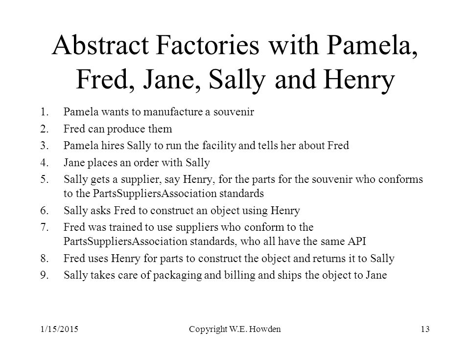 Abstract Factories with Pamela, Fred, Jane, Sally and Henry 1.Pamela wants to manufacture a souvenir 2.Fred can produce them 3.Pamela hires Sally to run the facility and tells her about Fred 4.Jane places an order with Sally 5.Sally gets a supplier, say Henry, for the parts for the souvenir who conforms to the PartsSuppliersAssociation standards 6.Sally asks Fred to construct an object using Henry 7.Fred was trained to use suppliers who conform to the PartsSuppliersAssociation standards, who all have the same API 8.Fred uses Henry for parts to construct the object and returns it to Sally 9.Sally takes care of packaging and billing and ships the object to Jane 1/15/2015Copyright W.E.