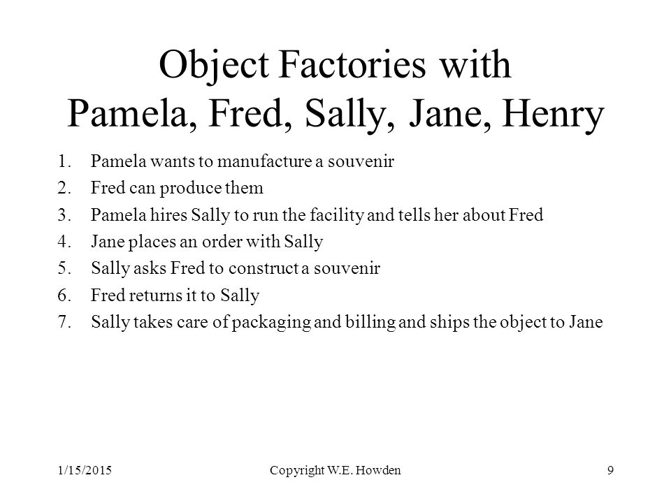Object Factories with Pamela, Fred, Sally, Jane, Henry 1.Pamela wants to manufacture a souvenir 2.Fred can produce them 3.Pamela hires Sally to run the facility and tells her about Fred 4.Jane places an order with Sally 5.Sally asks Fred to construct a souvenir 6.Fred returns it to Sally 7.Sally takes care of packaging and billing and ships the object to Jane 1/15/2015Copyright W.E.