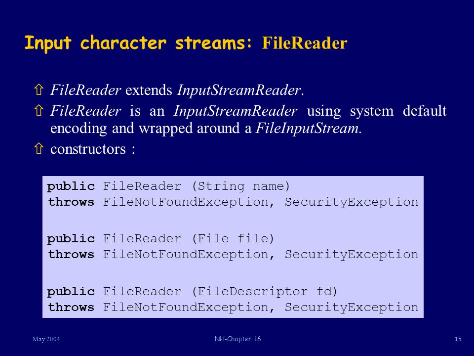 15May 2004NH-Chapter 16 Input character streams: FileReader ñFileReader extends InputStreamReader.