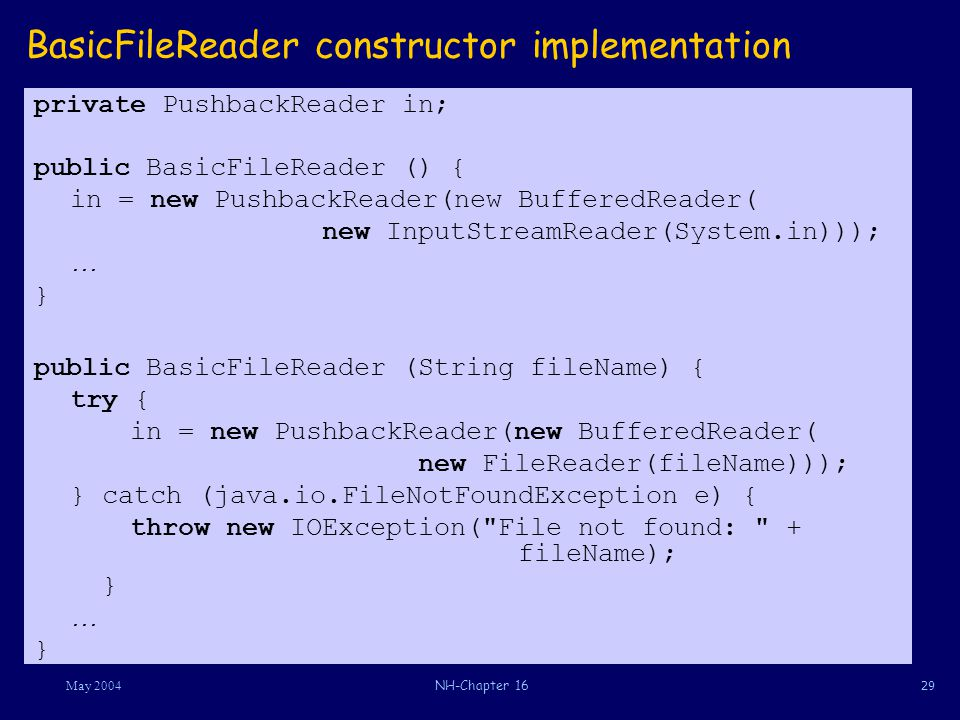 29May 2004NH-Chapter 16 BasicFileReader constructor implementation private PushbackReader in; public BasicFileReader () { in = new PushbackReader(new BufferedReader( new InputStreamReader(System.in))); … } public BasicFileReader (String fileName) { try { in = new PushbackReader(new BufferedReader( new FileReader(fileName))); } catch (java.io.FileNotFoundException e) { throw new IOException( File not found: + fileName); } … }