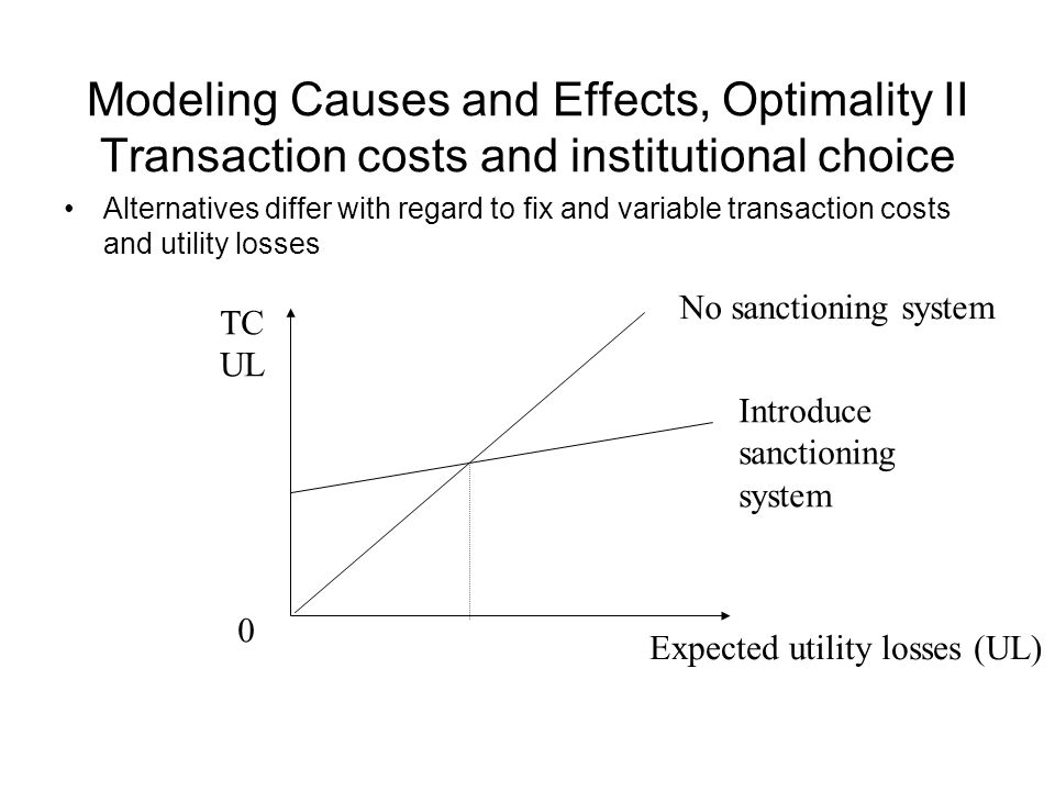 Modeling Causes and Effects, Optimality II Transaction costs and institutional choice Alternatives differ with regard to fix and variable transaction costs and utility losses 0 TC UL Expected utility losses (UL) No sanctioning system Introduce sanctioning system