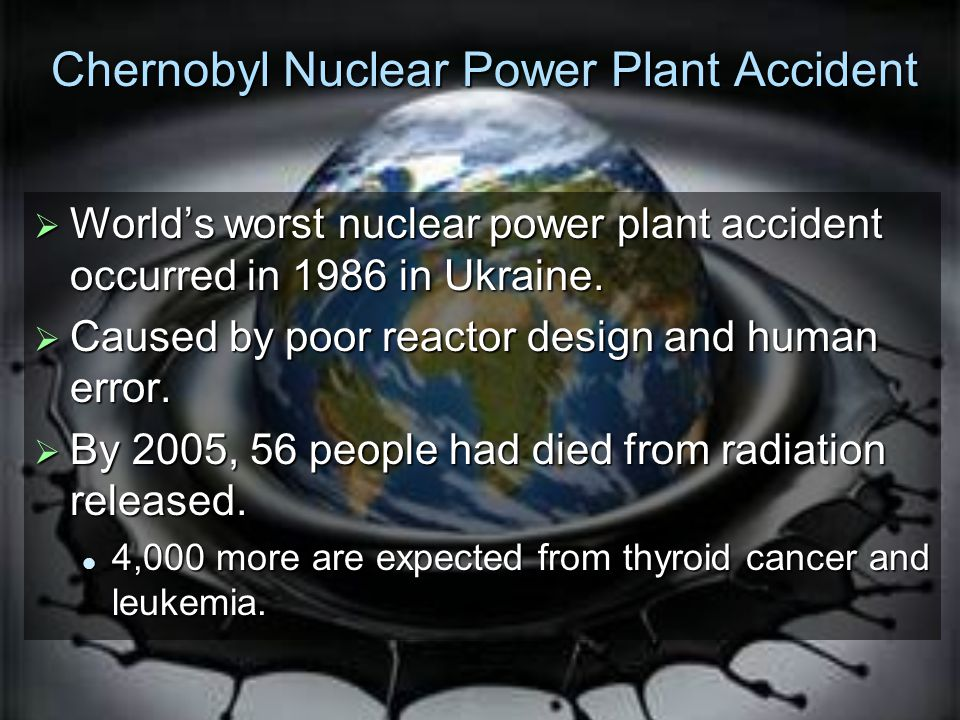 Chernobyl Nuclear Power Plant Accident  World's worst nuclear power plant accident occurred in 1986 in Ukraine.