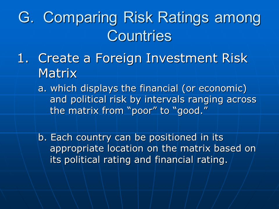 G. Comparing Risk Ratings among Countries 1. Create a Foreign Investment Risk Matrix a. which displays the financial (or economic) and political risk