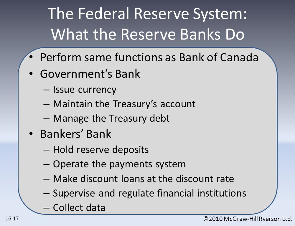 ©2010 McGraw-Hill Ryerson Ltd. The Federal Reserve System: What the Reserve Banks Do Perform same functions as Bank of Canada Government's Bank – Issu