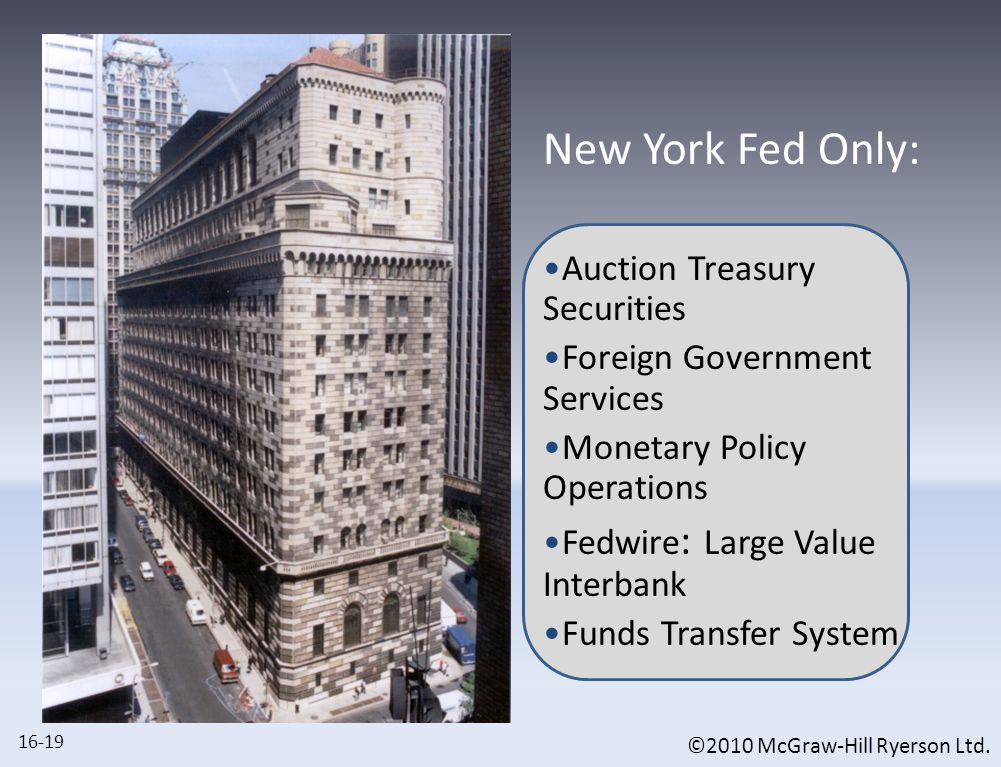 ©2010 McGraw-Hill Ryerson Ltd. New York Fed Only: Auction Treasury Securities Foreign Government Services Monetary Policy Operations Fedwire : Large V