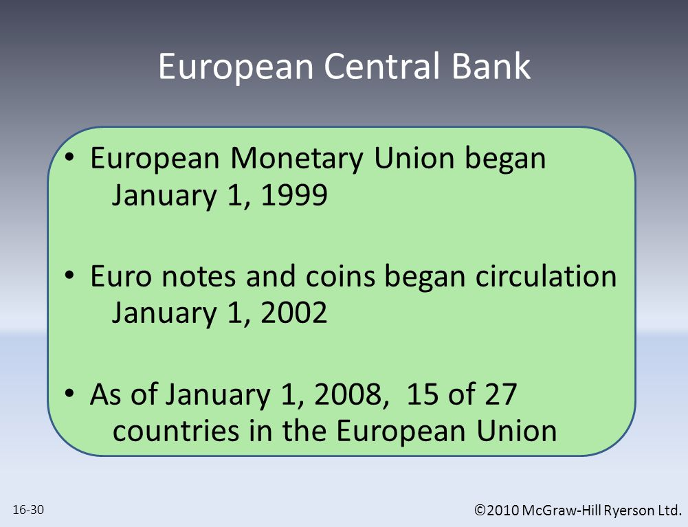©2010 McGraw-Hill Ryerson Ltd. European Monetary Union began January 1, 1999 Euro notes and coins began circulation January 1, 2002 As of January 1, 2
