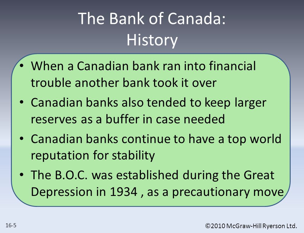 ©2010 McGraw-Hill Ryerson Ltd. The Bank of Canada: History When a Canadian bank ran into financial trouble another bank took it over Canadian banks al